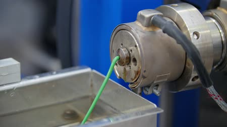polyvinyl : Extrusion manufacturing line - extruder, close up Stock Footage