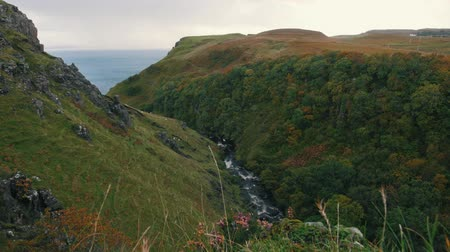 geological feature : View of cliffs near sea at Scottish Highlands - Skye UK Stock Footage