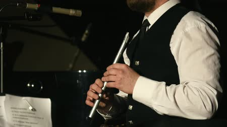 felvidéki : Bearded man plays pipe on the stage Stock mozgókép