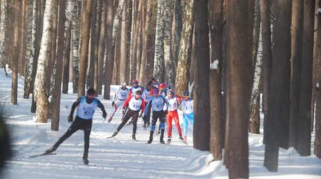 deslizamento : KAZAN, RUSSIA - March, 2018: view of the approaching group of professional skiers participating in the ski marathon in winter forest