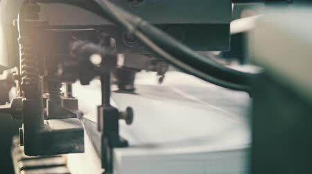 alimentador : Printing process - sheets of paper - CMYK, close up Stock Footage