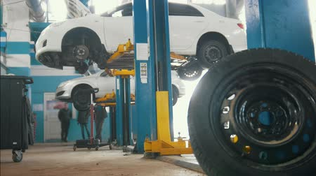 затянуть : Car in auto service lifting for repairing, mechanics in garage