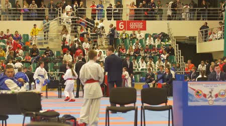 fegyelem : KAZAN, RUSSIA - APRIL 7, 2018:, all-Russian junior karate tournament AK bars Cup Stock mozgókép