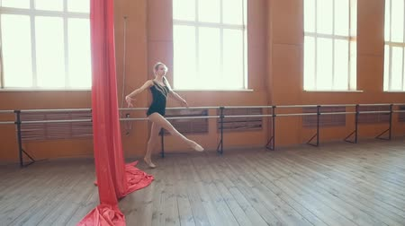 çevik : Young ballerina practicing ballet in a studio
