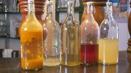 olive oil pour : Bottles with different oil in restaurant at the bar