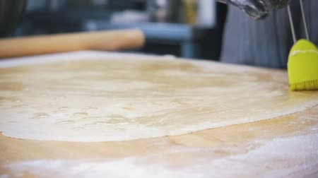 изюм : Making apple strudel - raw dough for cake smeared with oil, slow-motion