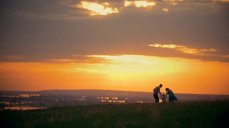 holding : Happy traditional family walking outdoor - mom, dad and little son - to sunset at summer meadow Stock Footage