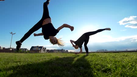 backflip : Active young women performs acrobatic stunts on the grass at summer sunset