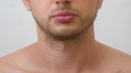hair growth : Process of growing beard on the face of young man Stock Footage