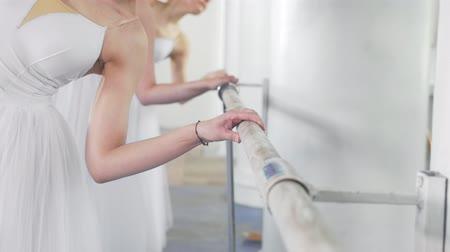 baletnica : Beautiful young ballerinas on pointe exercises at ballet bar in a studio