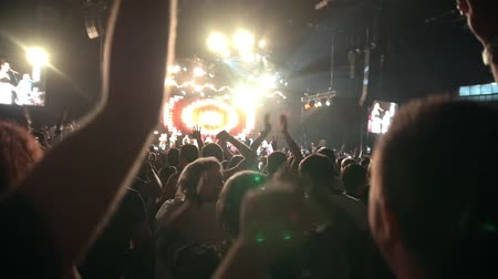 showbiz : Spectators at the concert - slow-motion Stock Footage
