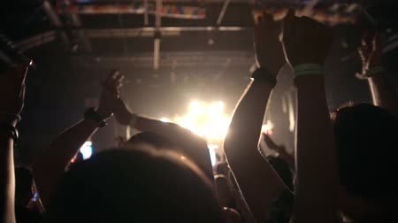 showbiz : People pulls hands up at a rock concert, slow-motion