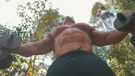 штанга : Muscular bodybuilder raising a heavy iron dumbbells - workout in forest