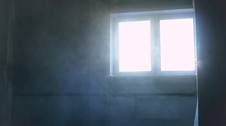 домик : Dust in the room during construction. Blue light from window
