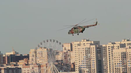 squadron : Kazan, Russian Federation - August 2018, - speech by military helicopter Mi-8 over the city of Kazan, at the air show