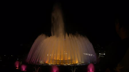 fontain : Magic fountains, colorful night show with different water shapes at late evening