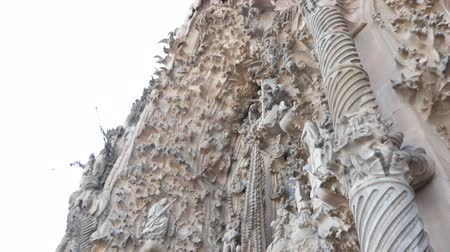 intricate : Barcelona, Spain - September 2018: La Sagrada Familia Cathedral Exterior Architecture Detail in Barcelona Spain