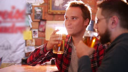 cheers : Two guys sit at the bar, drinking beer, the guys are clinking glasses and talking to each other