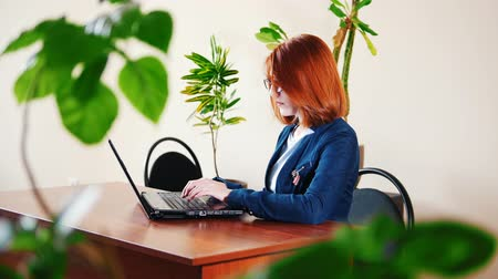 napirend : Female worker typing the text on laptop in the office, plants on the table