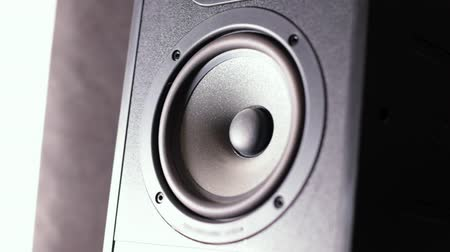 membrane : Closeup of a black vibrating working subwoofer Stock Footage