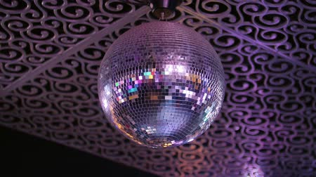 el feneri : Disco-ball rejecting the light. Close up Stok Video