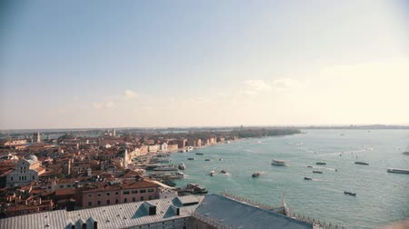 Венеция : Italy, Venice. City overview from the high point. Sea, boats Стоковые видеозаписи
