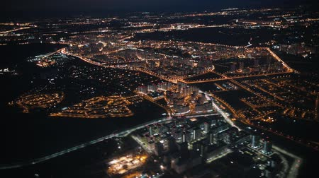 aeroespaço : View from an airplane out the window of city. Night lights. Night view Stock Footage