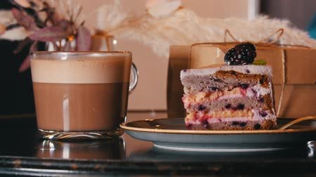 kaplanmış : A sweet breakfast. A piece of blackberry cake and cup of coffee