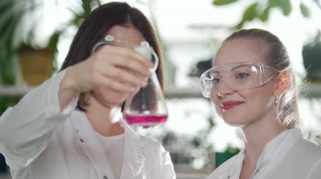 profesor : Chemical laboratory. Two young women looking at the flask with pink liquid in it and evaluate the result. Smiling