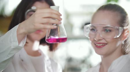 fejleszt : Chemical laboratory. Two Young lab technicians holding a flask with pink liquid in it lightly shaking it
