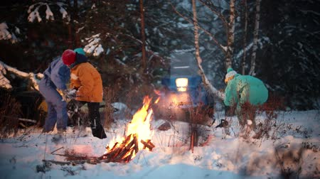 śnieżka : The family plays in the snowball near the bonfire in the forest Wideo