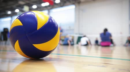 volleyball players : Sports for disabled people. People sitting on the floor and warming up. Volleyball ball on the foreground Stock Footage