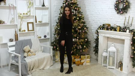 peluş : A young woman model in the photo studio. Christmas theme Stok Video
