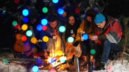 palivové dříví : Group of friends having a good time by the fire in the woods. Frying different types of food. Bright colorful lights