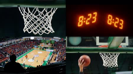 hoop : 4 in 1 - basketball game. sports scoreboard with time numbers, basketball hoop and field. Stock Footage
