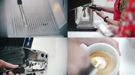 titular : 4 in 1 - barista making coffee in the coffee house