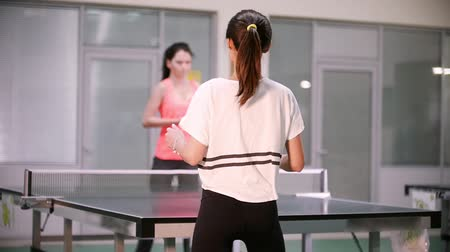 подача : Ping pong playing. Young woman playing table tennis with her friend. Back view Стоковые видеозаписи