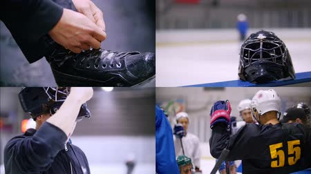 hokej : 4 in 1: hockey players preparing for the game. training
