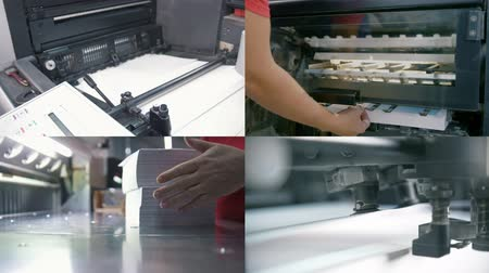 newspaper cover : 4 in 1: typography industry. industrial paper manufacturing Stock Footage