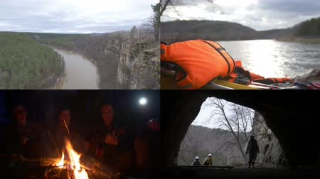 speleology : 4 in 1: Group of speleologists traveling. Hiking, sitting by fire, exploring the cave