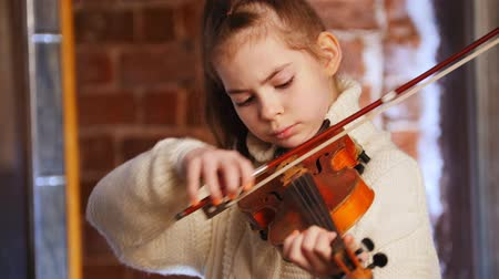 string instrument : A little girl in white sweater learning how to play violin