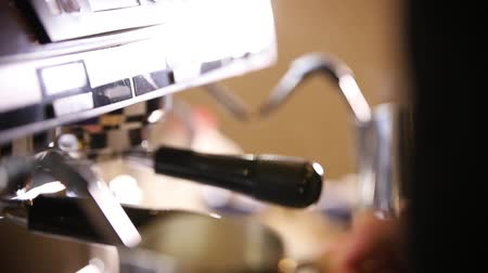 churn : Barista making coffee. The process of milk churning for cappuccino Stock Footage