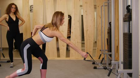 meditující : Young women doing fitness in the gym. A woman doing strength exercises