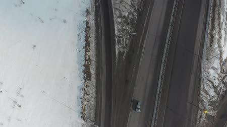 passagem elevada : An aerial view on a highway. A camera overflight above the road