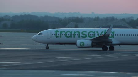 hava otobüsü : 30 April 2019, PRAGUE, CZECH: Vaclav Havel airport - TRANSAVIA AIRLINES - A plane is moving on the airport runway on a background of pink sunset