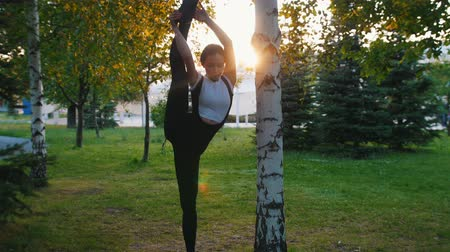 move well : Young attractive moman doing stretching near the tree in the park in the sunshine - Raising and leaning her leg against the tree Stock Footage