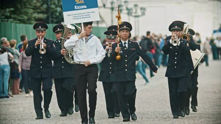 trombeta : RUSSIA, KAZAN 09-08-2019: A wind instrument parade - Orchestra of the Ministry of Internal Affairs of Kazan