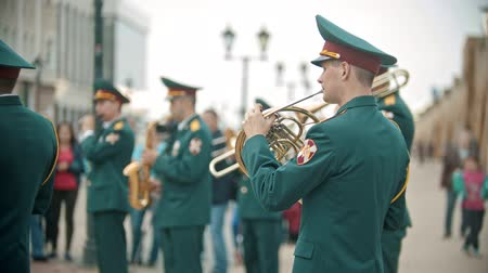 концерт : RUSSIA, KAZAN 09-08-2019: A wind instrument military parade
