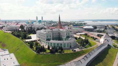 kul : 26-07-2019 KAZAN, RUSSIA: An aerial view on the Kazan kremlin and other sights behind the walls - museum on the kremlin territory Stock Footage