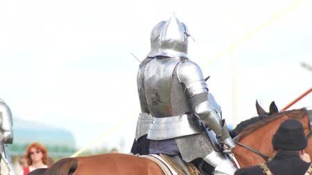 beygir gücü : BULGAR, RUSSIA 11-08-2019: Two knights riding on the field and having a talk Stok Video
